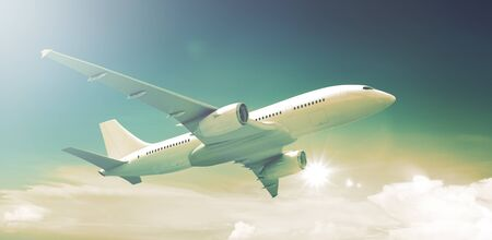 aeroplanes: Airplane Plane Flying Aircraft Transportation Travel Stock Photo