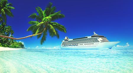 Crucero de vacaciones de verano Viajes Playa de viaje Concepto Mar Cielo