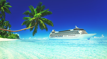 Cruise Vacation Travel Beach Summer Trip Sky Sea Concept Banco de Imagens - 51596042