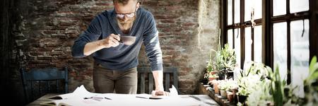 De travail du Home Office Man Start up Idées Concept Banque d'images - 51615355