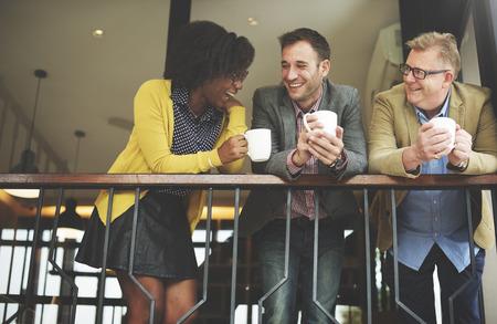 Group Business People Chatting Balcony Concept Foto de archivo