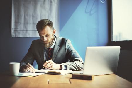 determine: Businessman Working Determine Workspace Lifestyle Concept Stock Photo