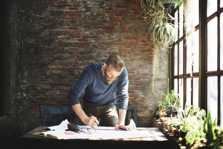 Architect Engineer Ontwerp Het werken Planning Concept Stockfoto