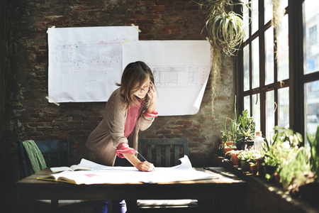 architectural architect: Businesswoman Working Planning Sketch Concept Stock Photo