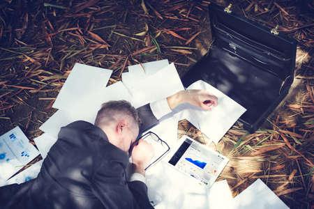 tired: Businessman Sleeping Stress Deadline Working Tired Concept