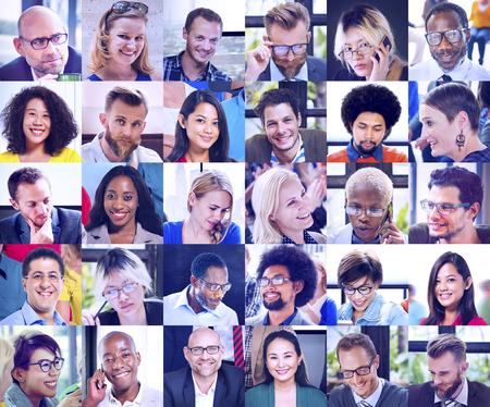 collage caras: Collage Caras Diversos Grupos Personas Concept
