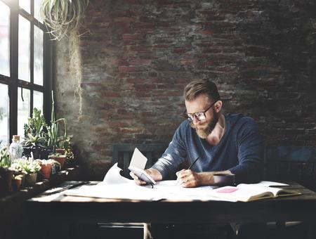 determine: Businessman Determine Ideas Writing Working Concept