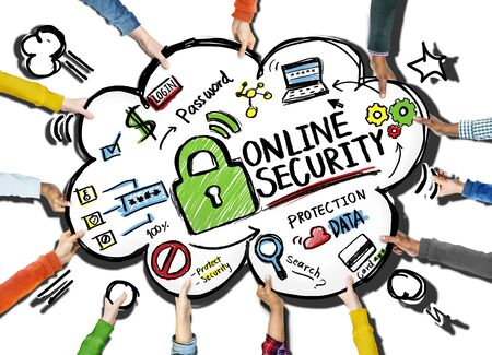 internet safety: Online Security Protection Internet Safety Support Team Concept Stock Photo