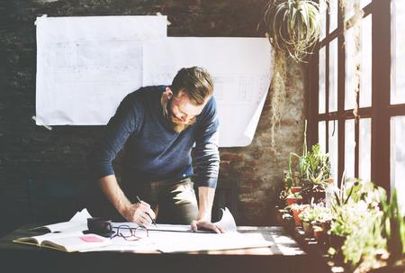 determine: Man Working Determine Workspace Lifestyle Concept Stock Photo