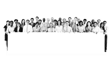large group of business people: Large Group Business People Holding Board Blank Concept Stock Photo
