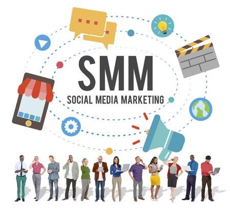 interaccion social: Social Media Marketing Online concepto de negocio Foto de archivo