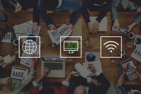 グローバルな世界的なデジタル近代的な接続の概念