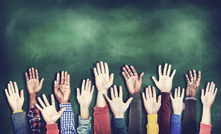 raised hand: Hands Raised Togetherness Diversity People Concept
