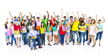Diverse Groep Student Vrienden Vieren Concept