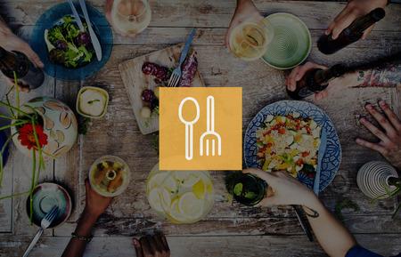 Spoon Fork Dishware Foodcourt Equipment Concept