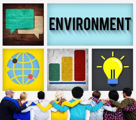 facing backwards: Global Green Business Environmental Conservation Concept Stock Photo