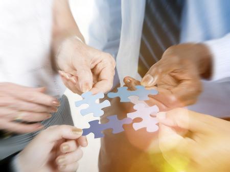 Conexión Negocio Equipo Corporativo Jigsaw Puzzle Concept