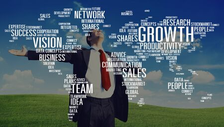 getting away from it all: Growth Sales Vision Team Network Idea People Concept
