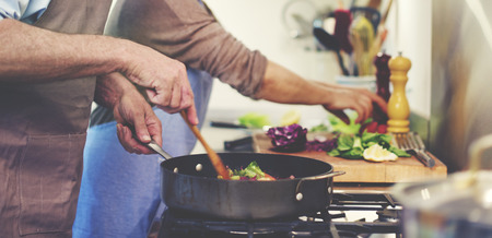 Husband Wife Cooking Dinner Food Concept Imagens - 51835227