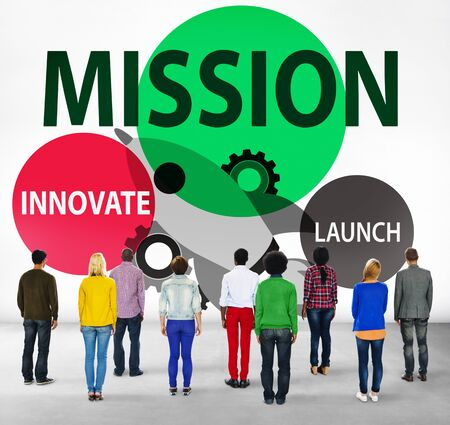 facing backwards: Mission Innovate Launch Success Goal Concept Stock Photo