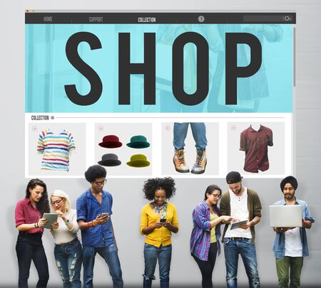 paying: Shop Shopping Buying Paying Ordering Commercial Concept