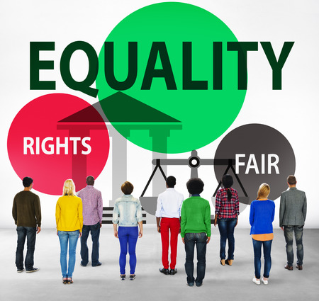 facing backwards: Equality Parity Balance Justice Fair Concept