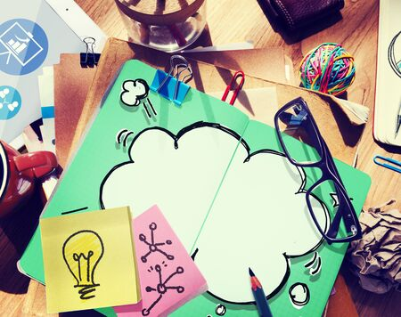 note pad: Thought Bubble Thinking Ideas Imagination Concept Stock Photo