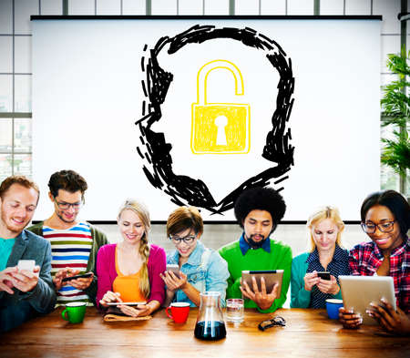liberate: Brainstorming Unlock Human Resource Thinking Concept Stock Photo