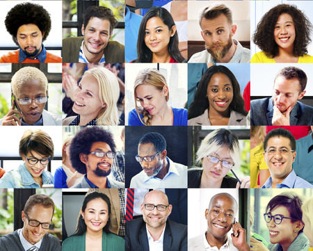 multiple ethnicity: Collage Diverse Faces Group People Concept Stock Photo