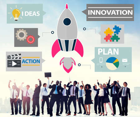 people in action: Innovation Plan Planning Ideas Action Launch Start Up Success Concept