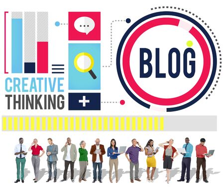 businessman using a megaphone: Blog Blogging Media Messaging Social Network Media Concept Stock Photo