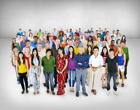 community group: Large group of Multiethnic people Community Concept
