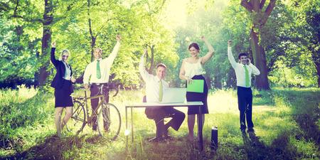Gente de negocios Green Business Success Concept Aire libre Foto de archivo