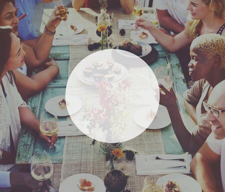 outdoor dining: Circle Copy Space Blank Icon Symbol Shape Concept Stock Photo