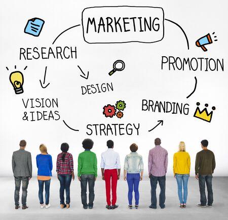 facing backwards: Marketing Management Promotion Branding Campaign Concept Stock Photo