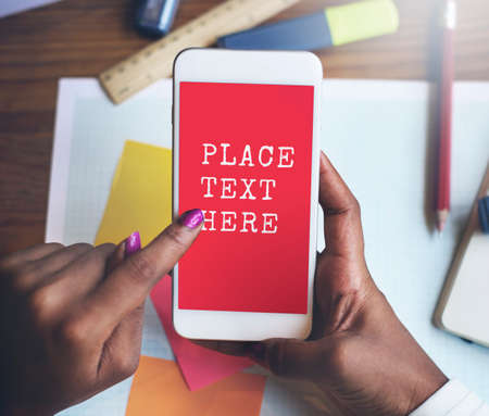 replying: Place Text Here Data Digital Devices Internet Concept Stock Photo