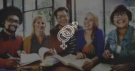 educacion sexual: Sexo Grupo Sexual Hombres Mujeres Concepto Foto de archivo