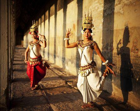 southeast asian ethnicity: Aspara Dancer Angkor Wat Sepia Toned Traditional Concept