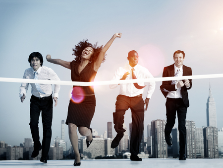 Businesswoman Winning Competition Mission Goal Concept