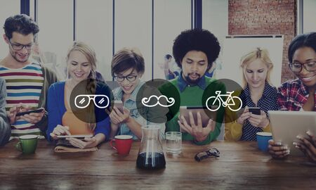 wireless communication: Diverse People Digital Devices Wireless Communication Concept Stock Photo