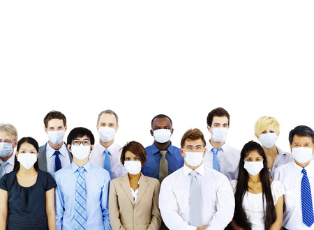 Business People Wearing Medical Mask Concept Stockfoto