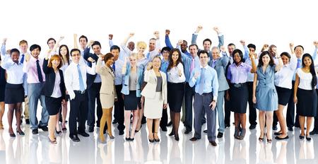 군중 비즈니스 사람들이 축하 성공 팀 개념 스톡 콘텐츠