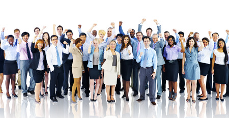african business people: Crowd Business People Celebration Success Team Concept