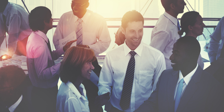 business: 多種族多元化繁忙的商務人士概念的集團 版權商用圖片