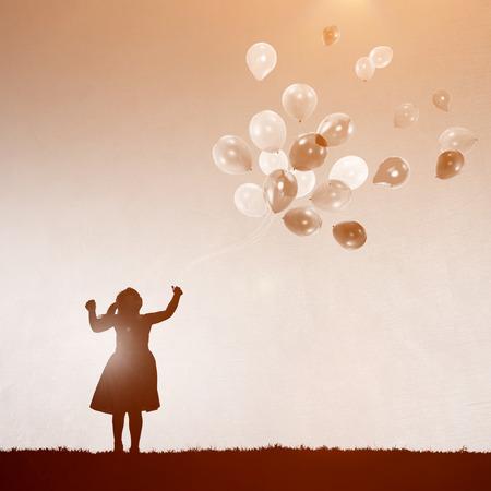 enjoyment: Child Playing Balloons Fun Enjoyment Concept
