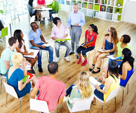 adult students: College Students Learning Education University Teaching Concept Stock Photo