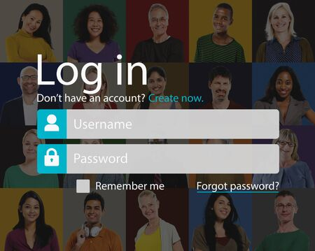 log in: Log In Sign Up Register Account Page Concept