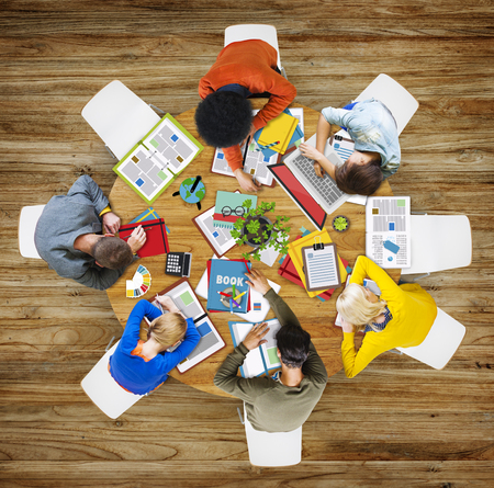 aerial: Aerial View People Teamwork Working Studying Contemporary Office Stock Photo
