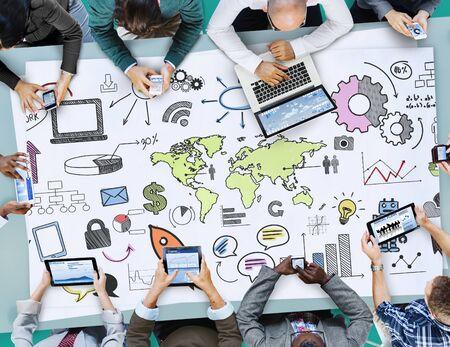 online world: Global Community Start Up Launch Teamwork Online Concept