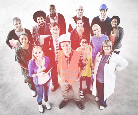 different jobs: Group of Multiethnic Diverse People with Different Jobs Concept